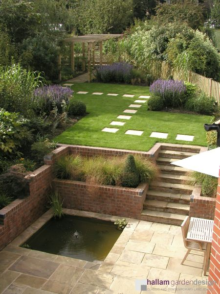Info sloping garden brincliffe edge for Sloping garden design ideas